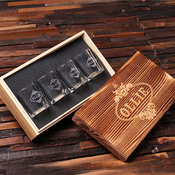 Engraved Shot Glasses w/Keepsake Box – Set of 4