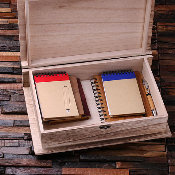 Wooden Book Keepsake Box Small, Large of Set of 2