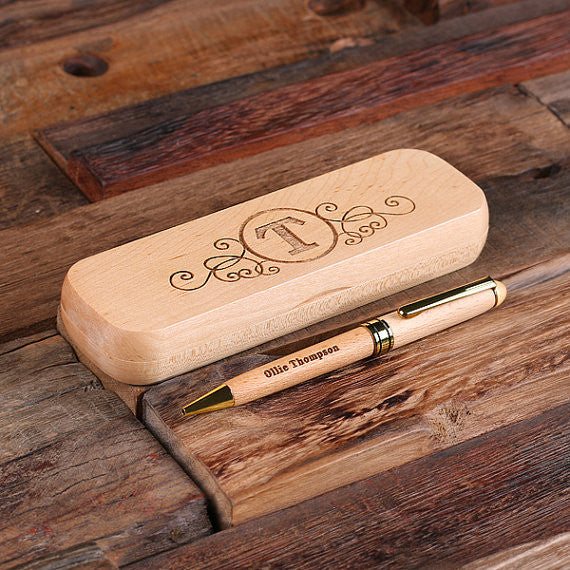 Wood Desktop Pen Set Engraved