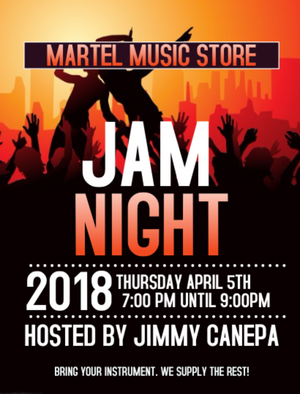 APRIL 5TH IN STORE JAM NIGHT!