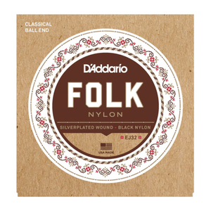 D'Addario EJ32C Folk Nylon, Ball End, Silver Wound/Black Nylon Trebles