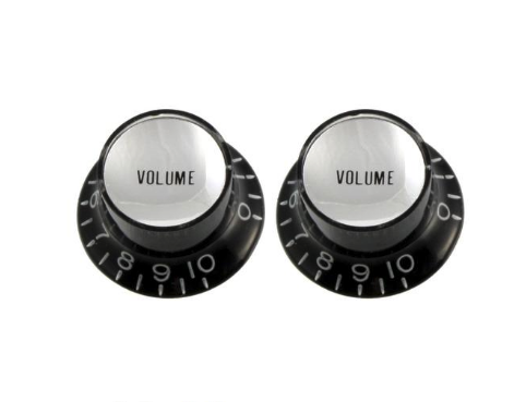 Black Volume Reflector Knobs - Black with Silver