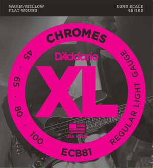 D'addario ECB81 Chromes Flat Wound Light Bass Strings