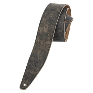 "Levy's 2.5"" Black Distressed Leather Guitar Strap"