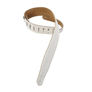 Levy's White Garment Padded Leather Guitar Strap