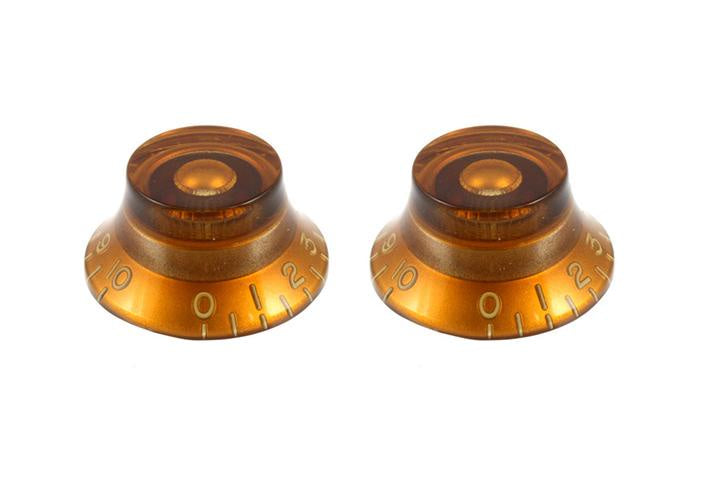 Set of 2 Bell Knobs - Amber / Standard