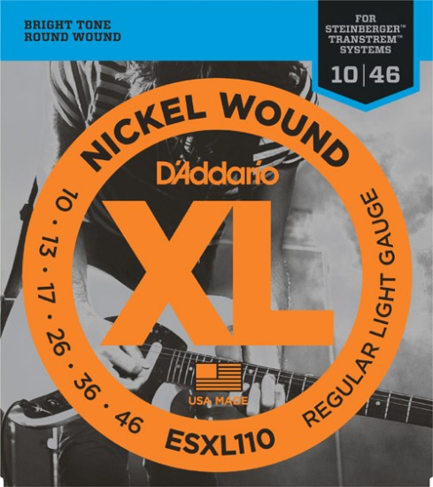 D'Addario ESXL110 Nickel Wound Electric Guitar Strings, Regular Light, Double Ball End, 10-46