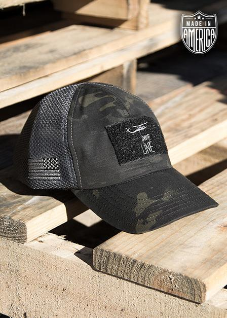 DARK AMERICAN MADE MESH BACK HAT WITH DROP LINE