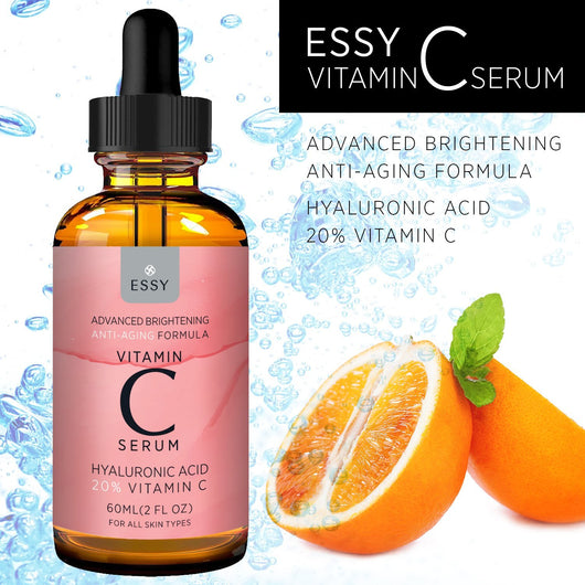 Advanced 20% Facial Vitamin C Serum with Hyaluronic Acid Brightening and Anti-Aging Formula - 1 oz (30mL)