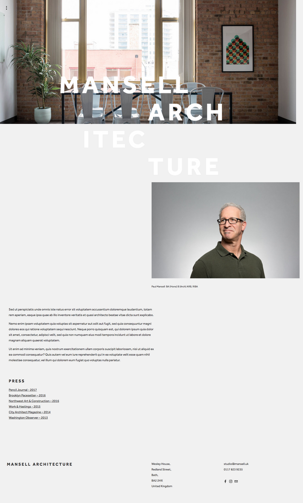 Mansell Squarespace Template