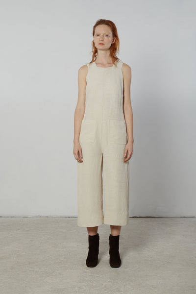 Cropped Jumpsuit in Matte Crinkle Satin