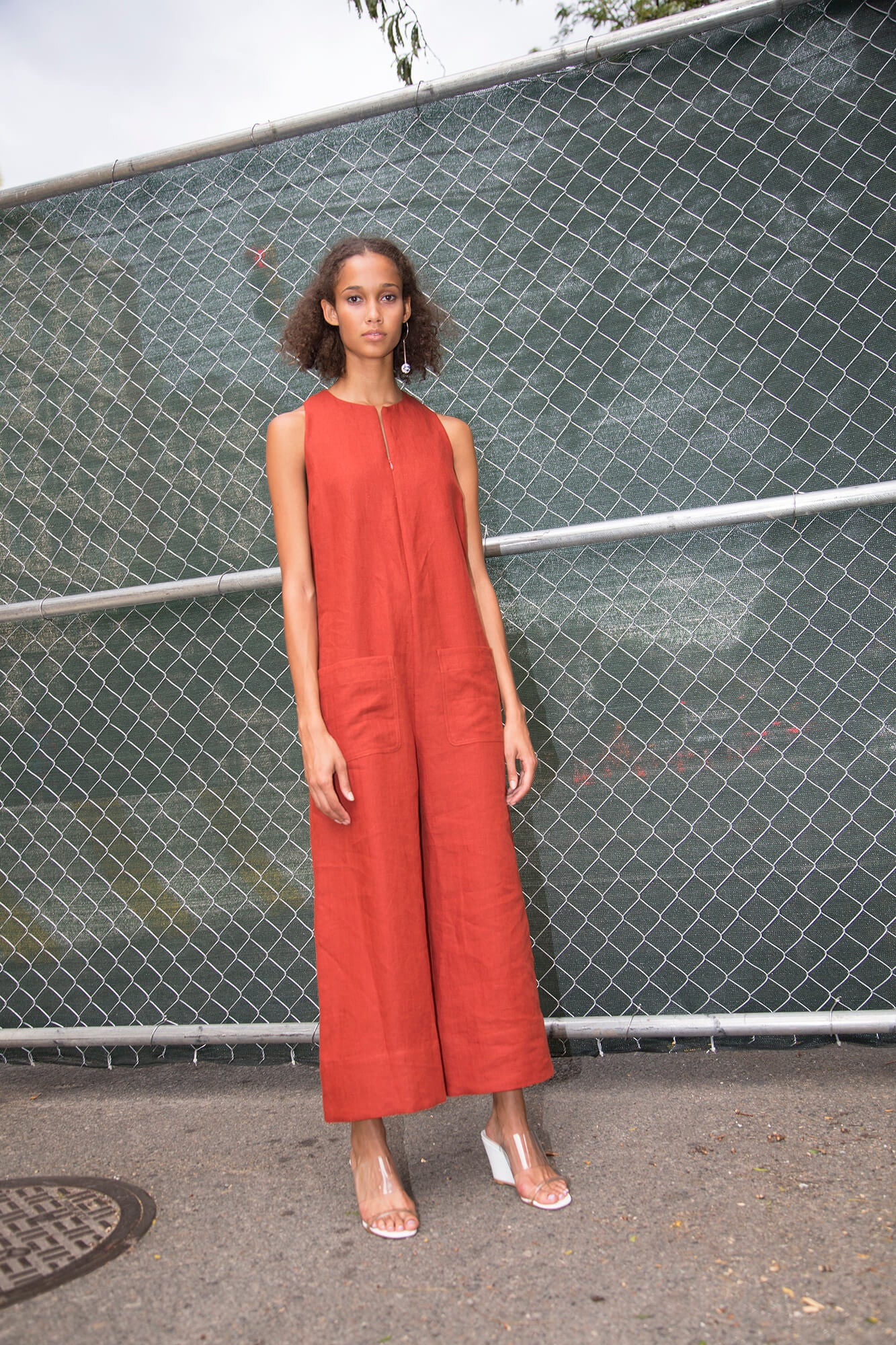 Cropped Jumpsuit - Brick