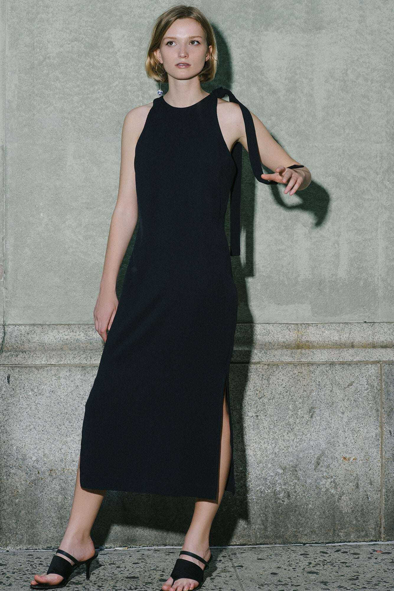 Shoulder Tie Midi Dress - Midnight