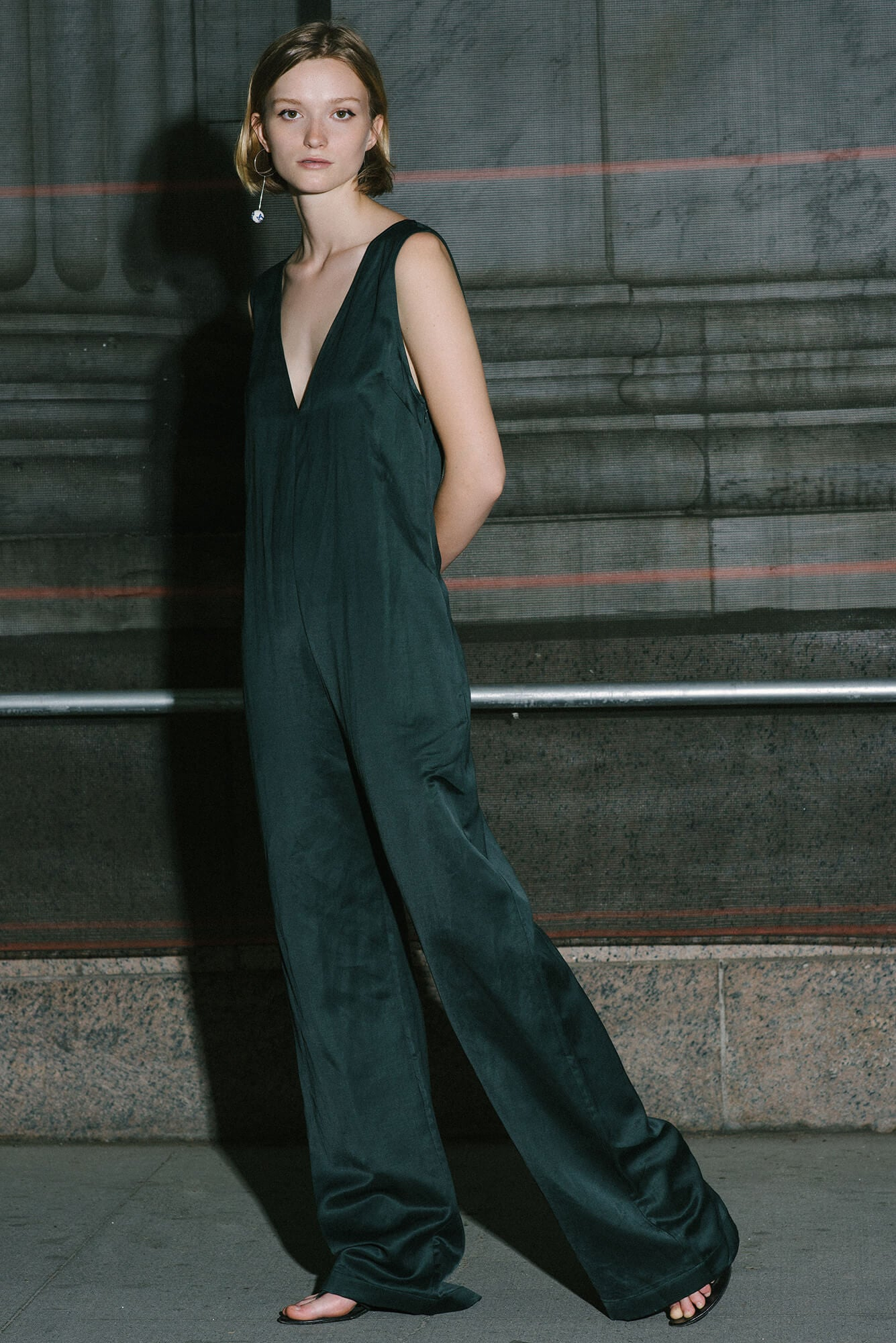 V Neck Jumpsuit - Loden