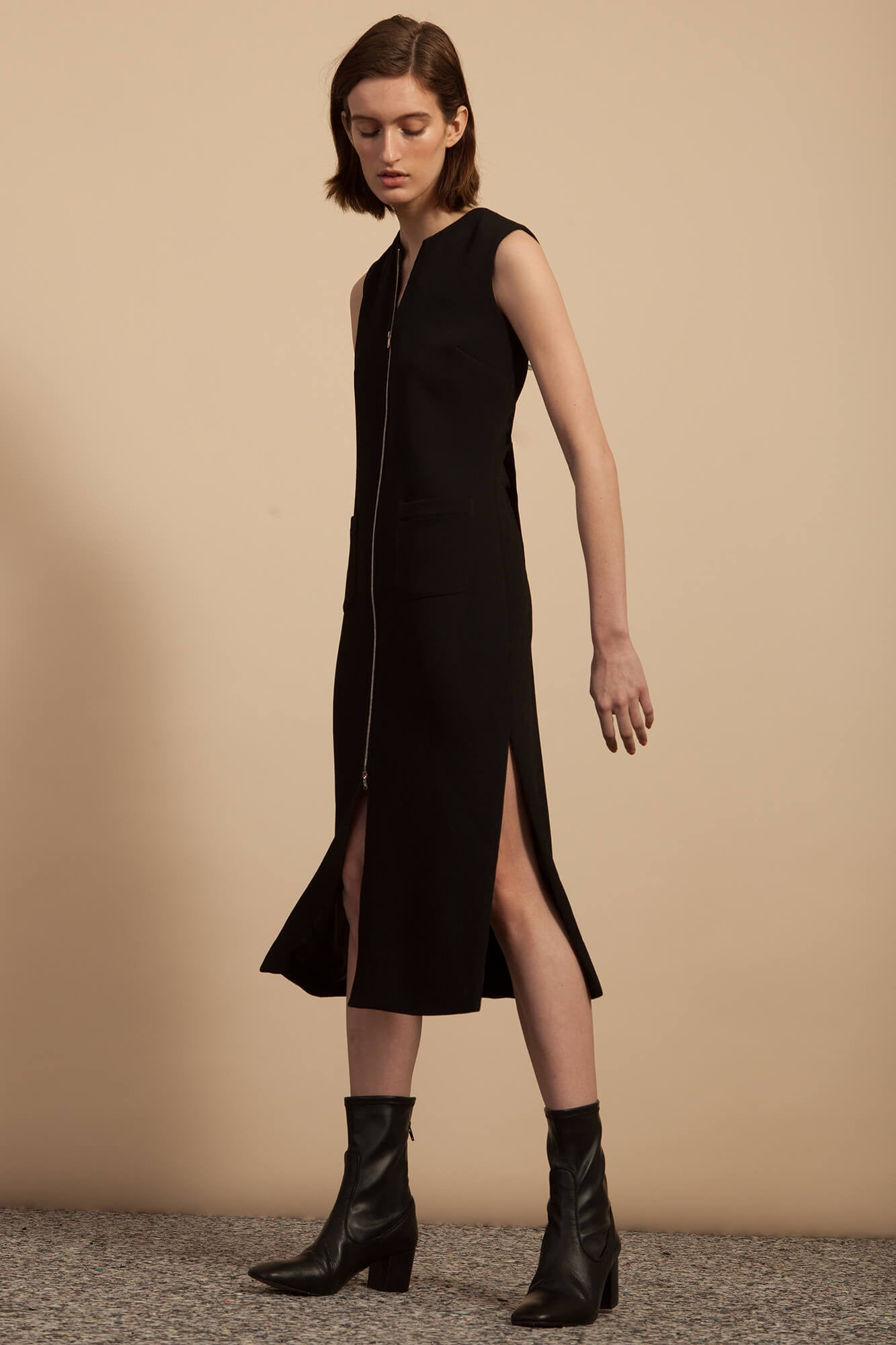 Zip Front Dress - Black Matte Crepe