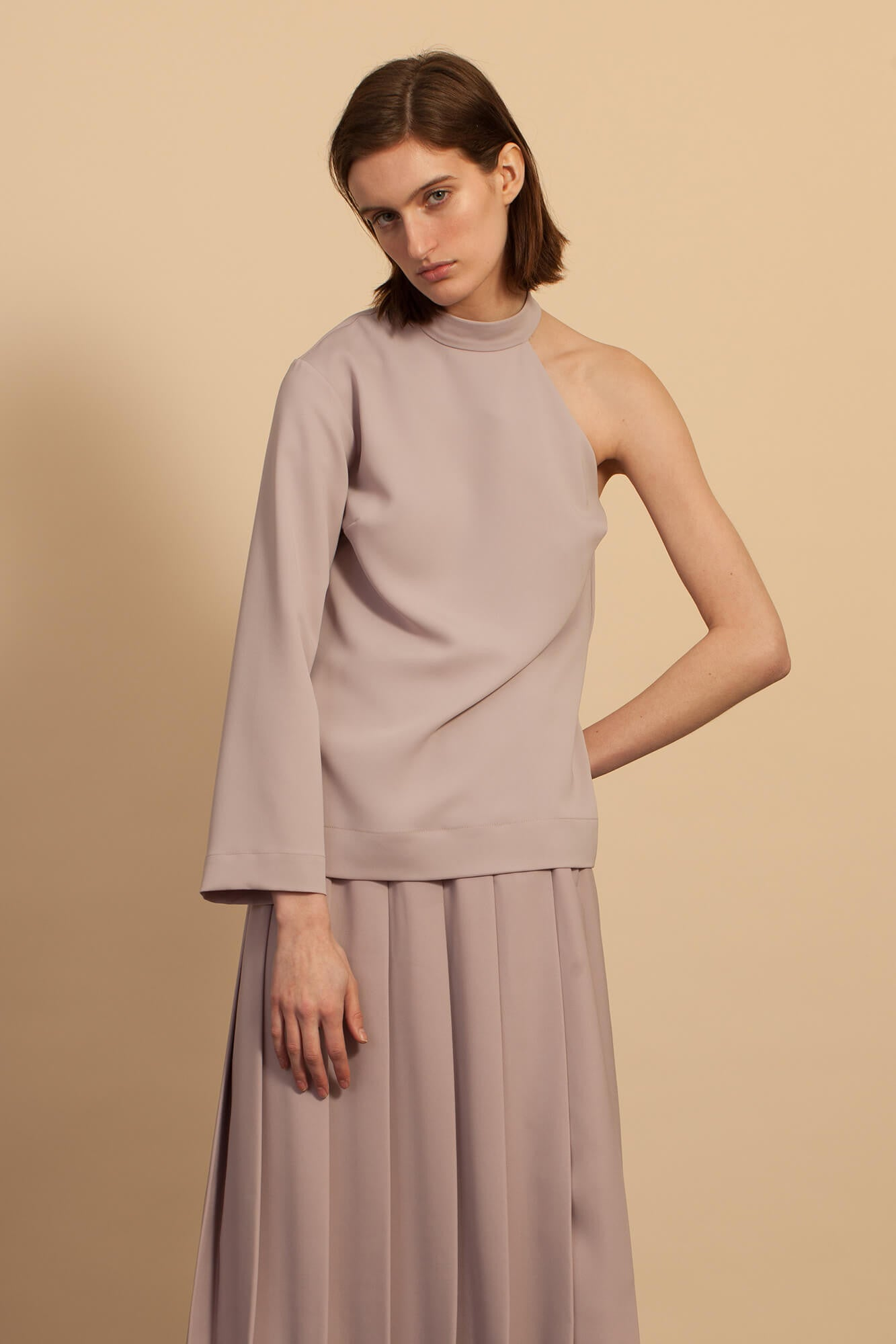 Cut-Out Shoulder Top - Mauve