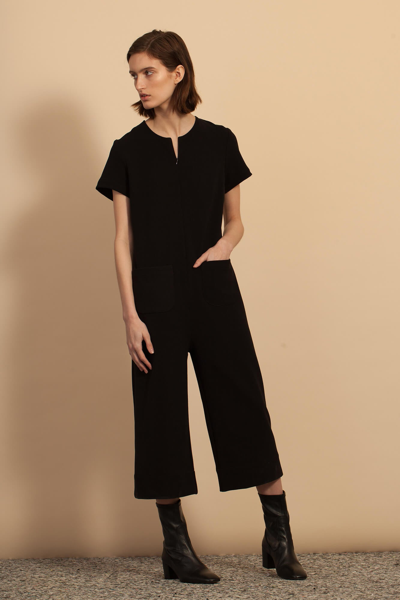 SS Cropped Jumpsuit - Black