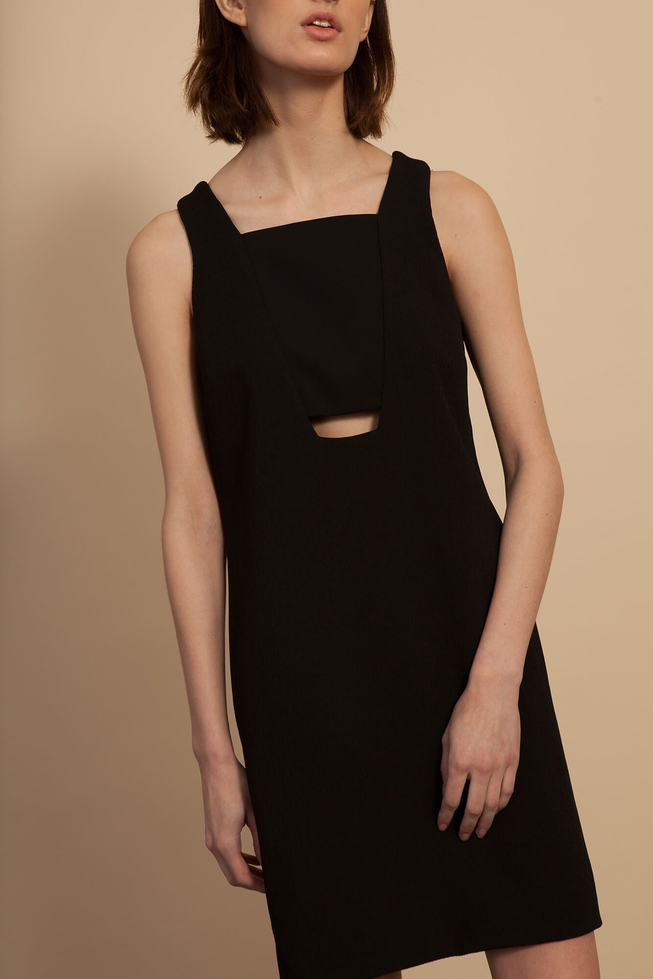 Cut-Out Shift Dress - Black