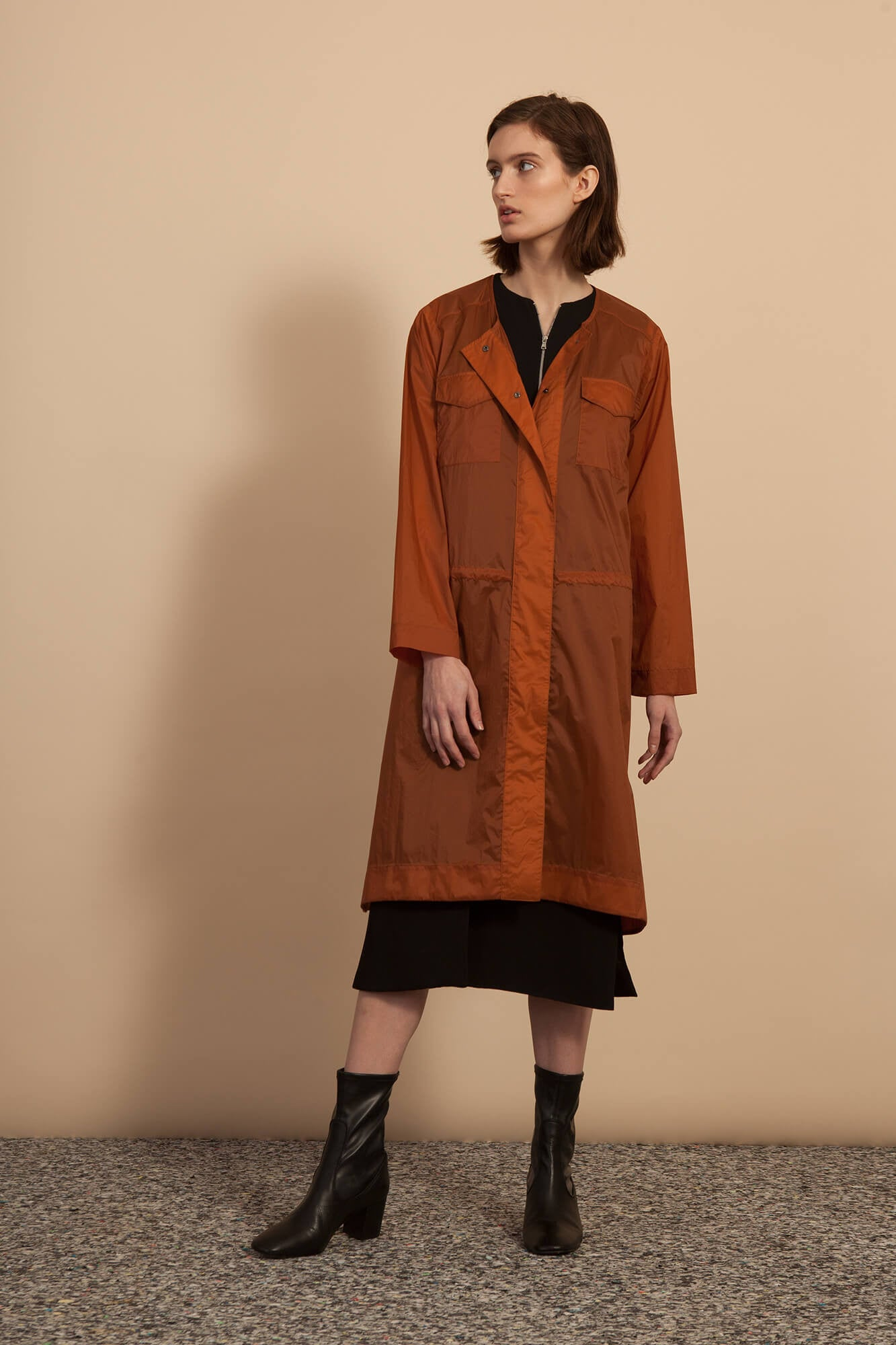 Snap Front Dress - Rust