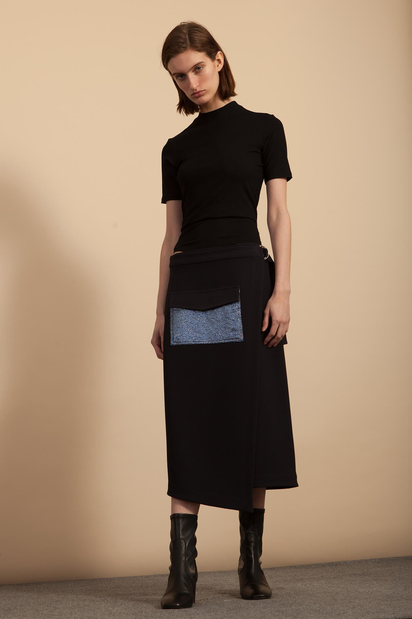 Pocket Wrap Skirt - Midnight