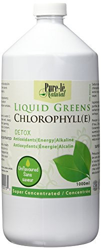 Pure-lē Natural Liquid Greens Chlorophyll Unflavoured 1000ml - Balance pH, Energize, Detox and Cleanse without calories! Ultra Premium Dietary Supplement - No Fillers or Binders, No Artificial Ingredients - FAST Shipping from Canada. - Yoga Vedanta