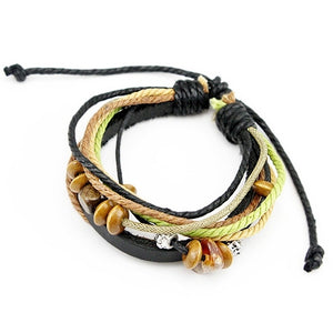 Free Fast Shipping Wrap Multicolour Real Leather Braided Rope Bracelet for Men and Women Fashion Man Jewelry PI0241