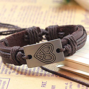 Heart shape Leather Bracelets Unisex Bracelets Cowhide Bracelets Wrist Chains - Yoga Vedanta
