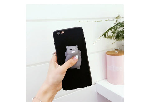 Squishy Cat Silicone Phone Case (Black)