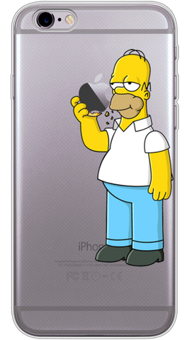 Homer Simpson Eating Apple Phone Case (Soft Transparent)