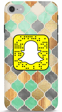 Mint and Gold Wood Custom Snapcode Phone Case