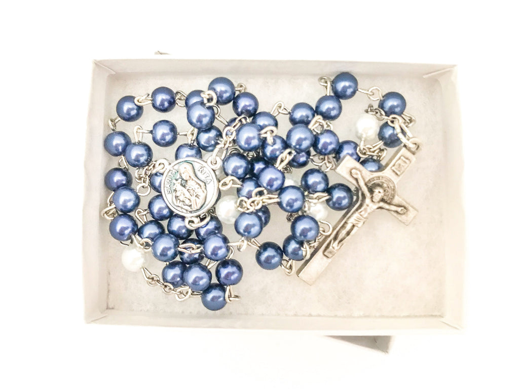St Rita Navy and White Catholic Rosary