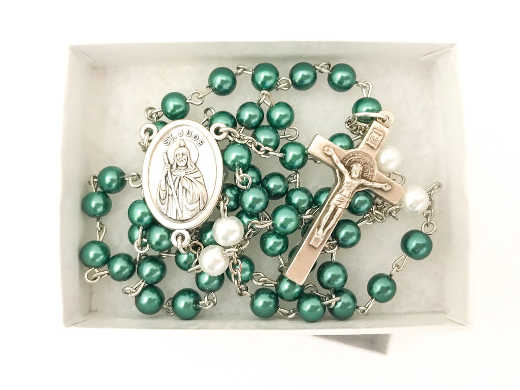 St Jude Silver Catholic Rosary (Two Toned)