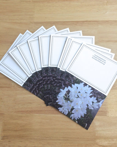 "Handmade Note Cards ""Snow Drops"" Original Design: Set of 10 Cards and 10 Envelopes"