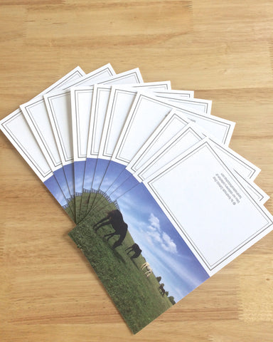 "Handmade Note Cards ""Horse Pasture"" Original Design: Set of 10 Cards and 10 Envelopes"