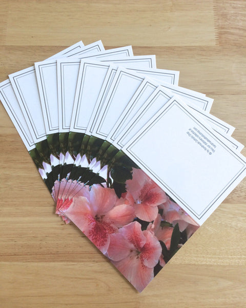 "Handmade Note Cards ""Blossoms of Pink"" Original Design: Set of 10 Cards and 10 Envelopes"