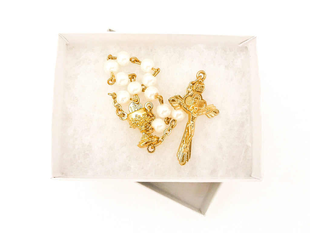 Gold One Decade Rosary/Bulk Rosary Favors/Christmas Stocking Stuffers