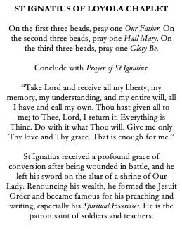 St Ignatius of Loyola Catholic Chaplet for Soldiers
