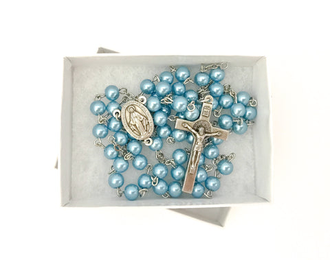 Miraculous Medal Blue Catholic Rosary