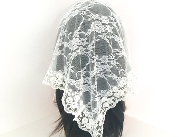 Large White Triangle Chapel Veil/Mantilla