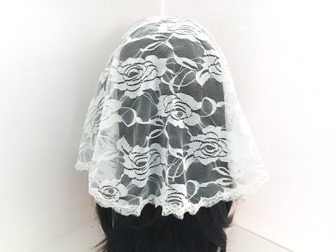 Small White Semicircle Chapel Veil/Mantilla