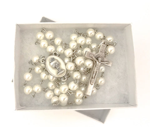 Holy Eucharist/First Communion Silver Catholic Rosary