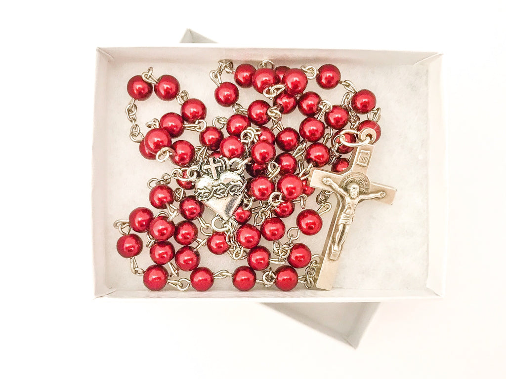 Heart of Jesus Red Catholic Rosary