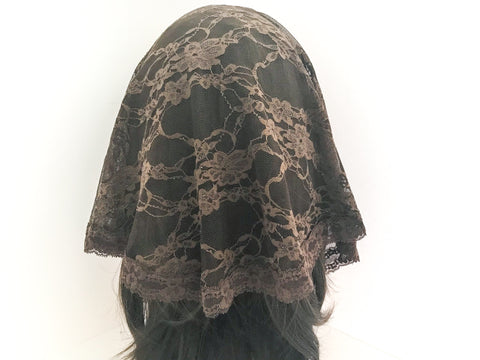 Small Brown Semicircle Chapel Veil/Mantilla