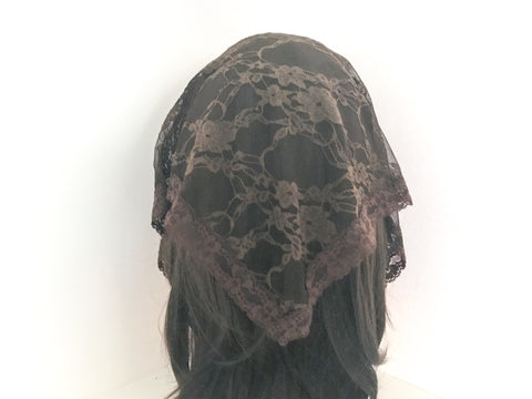Small Brown Triangle Chapel Veil/Mantilla