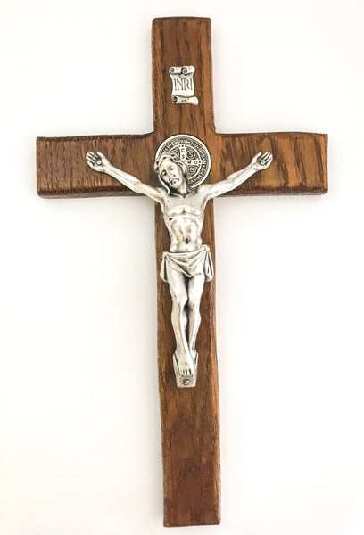 St Benedict Oak Wall Crucifix in Walnut Stain