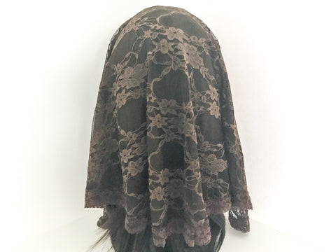 Large Brown Semicircle Chapel Veil/Mantilla