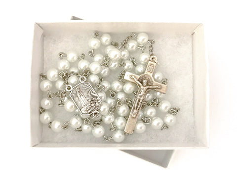 Our Lady of Fatima White Catholic Rosary