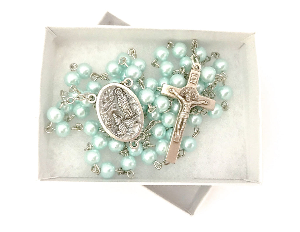 Our Lady of Lourdes Silver Catholic Rosary
