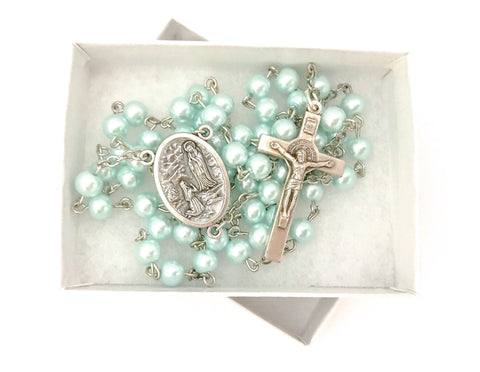Our Lady of Lourdes Turquoise Catholic Rosary