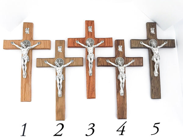 St Benedict Oak Wall Crucifix in Cherry Stain